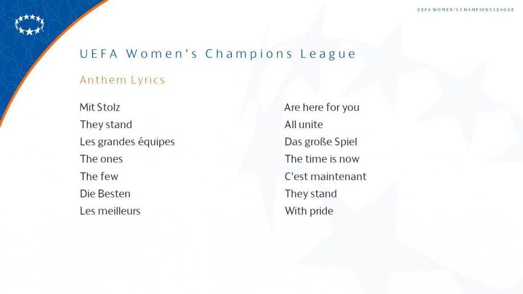Liga Mistrzyń hymn